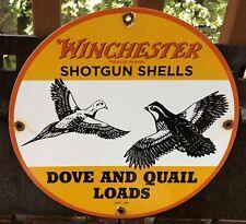 Vintage 1949 Winchester Dove Quail Ammunition Ammo Guns Porcelain Gas Oil Sign
