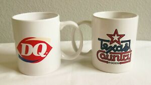 Lot of 2 Vintage Dairy Queen Mugs w/ S TX Towns Dairy Queen TEXAS COUNTRY Mug