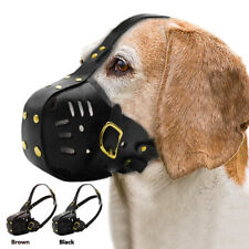 Leather Dog Muzzle Bite Bark Training Mouth Cover Medium Large Dogs Chew Control