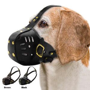 Leather Dog Muzzle Bite Bark Training Mouth Cover Medium Large Dogs Chew Control