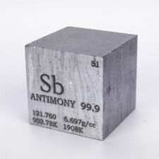 1 inch 25.4mm Varnished Antimony Metal Cube 99.9% 109g Engraved Periodic Table