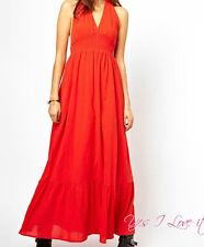 BRANDED  PARTY DAILY Orange Colour Maxi Dress With Halterneck UK12/EU40/US8