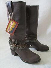 $199 DURANGO BROWN LEATHER COWBOY STYLE CARVED COMFORT BOOTS SIZE 9 1/2 M - NEW