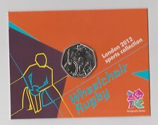 Rugby su sedia a rotelle-RARA 50p OLYMPIC 2012 Cinquanta Pence Moneta Coin nella cartella