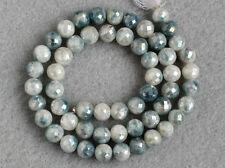7mm. Natural Corundum Blue Sapphire Faceted Round Ball Gemstone Beads 5pcs