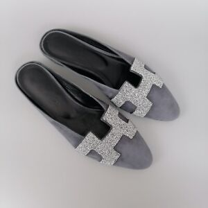 $1050 Hermes Ladies Roxane Leather Slipper Flat Shoe Pump Mule Size 37 US7 UK4
