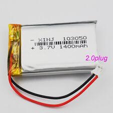 3.7V 1400 mAh Polymer Li po battery  with JST 2.0 piug For GPS Tablet PC 103050