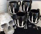 Set of FOUR 10 strawberry street Black Skeleton Hand Coffee Mugs Cups