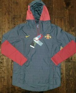$100 Nike Iowa State Cyclones Football 1/4 Zip Pullover Hooded Jacket Men Medium
