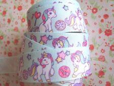 1M x Super Cute Baby Unicorn GROSGRAIN RIBBON Craft Hair Bow Cake 22MM UK