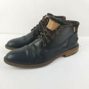 Bullboxer Men's DIEVER CAP TOE Size 11 Black leather CHUKKA BOOT lace Up