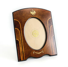 Vintage Italian Marquetry Wood Gilt Sterling Silver 5x7 Oval Photo Frame.