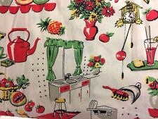 "Vintage Kitchen Curtain Valance Cotton Retro 43""W x 15""L Sale Free Ship"