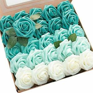 Floroom Artificial Flowers 25pcs Real Looking Green Ombre Colors Foam Fake Ro...