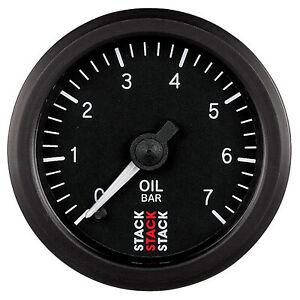 Stack Mechanical Oil Pressure Gauge 0-7 Bar 52mm - Black Dial Face