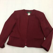 Vintage Orvis Blazer Woman 8 Petite USA 100% Wool Open Front Jacket Lined Maroon