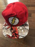 The Flash Logo By DC Comics Red Snapback Ball Cap W/Multicolor Viza-Print Bill