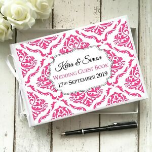 PERSONALISED WHITE WEDDING PARTY GUEST BOOK ELEGANT DAMASK  ~CHOICE OF COLOURS