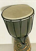 "Jamaica Djembe Drum Small Bongo Wood Special Design 11 3/4"" x 6 3/4"""
