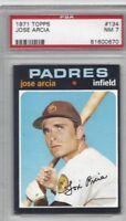 1971 Topps baseball card #134 Jose Arcia, San Diego Padres graded PSA 7