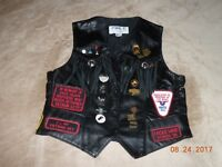 Women's Park V Leather Fringed Motorcycle Vest w/ Harley Patches & Pins (sz. 16)