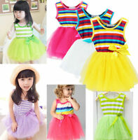Kids girl lace dance Ballet Skirt princess tutu rainbow Sundress bow party dress