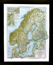 1901 Andrees Map Scandinavia Norway Sweden Denmark Finland Stockholm Copenhagen