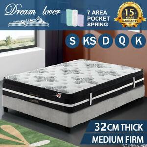 Double Queen King Single Bedding Mattress Pocket Spring Euro top DREAM LOVER