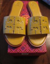 NIB TORY BURCH INES LEATHER SLIDES DAYLILY SPARK GOLD SIZE 9