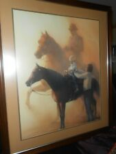 JAMES L CROW ORIGINAL W/C PAINTING-ARABIAN HORSES & PEOPLE STUDY-SGND-FRAMD-1986