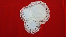 3  VINTAGE HAND CROCHET ROUND FABRIC DOILIES FREE SHIPPING