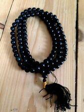 Black Agate Mala Prayer Beads 108, crystal, Buddhist, meditation, japa, Hinduism
