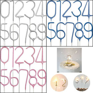 Cake Number Sparklers Candles Toppers Birthday Sparkling Party Decoration 0-9 UK