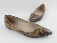J Crew Beige Gray Patent Leather Viv Animal Printed Pointed Toe Flat Shoe 7.5