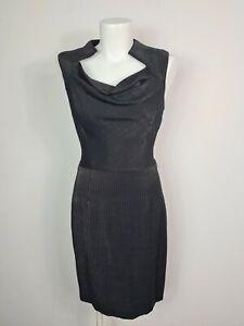 CUE AU MADE VINATAGE Silver Pinstripe Sheath Cowl Business Dress Women's Size 8