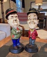 "Vtg Laurel & Hardy Set 16"" Tall Chalkware Pair Statues ESCO Like Rare Set 1971"