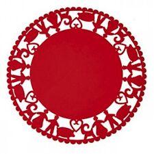 "Scandinavian Christmas Red Felt Table Cloth Tree Mat 35"" Round Gnomes  #7349"
