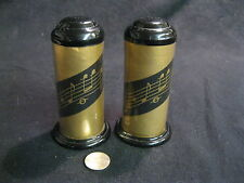 Gold Plastic Music Note Column Tinkle Sound Salt and Pepper Shakers Abon       5