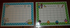 2 Laminated Owls and Cupcakes Potty Charts.  Health and Hygiene.