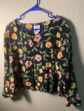 MAX & MABEL Long Sleeve Blouse Size L Multicolor Floral Print