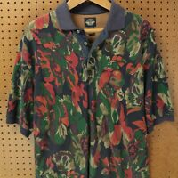 vtg 90s DOCKERS short sleeve polo shirt LARGE floral print long body aesthetic