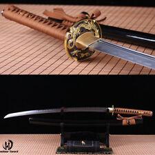 Folded steel clay tempered UNOKUBI-ZUKURI blade Japanese Samurai Sword Katana.