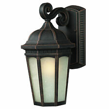 """Antique Bronze And White Seedy Glass Exterior Wall  Light 10.375"""" x 19.5"""""""