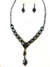 Vintage style Victorian style  BLACK stones Austrian Crystal pendant