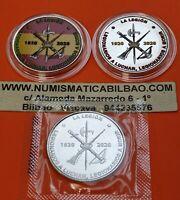3 medallas CENTENARIO DE LA LEGION 2x COLORES + NORMAL tipo 10 EUROS 2020 España
