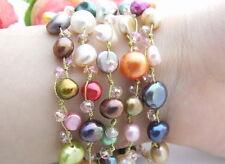 @@~ 5Strds Multi Color Pearl&Crystal Bracelet