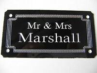 *Door Name plate 1mm Metal Aluminuim High Gloss Black 85x45mm Screw  Or StickOn*