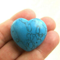 Turquoise Howlite Small Heart Polished Blue Gemstone 16g 3cm
