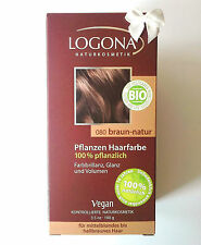 LOGONA Naturkosmetik Pflanzen HAARFARBE 080 Braun Natur 100 g Bio Vegan Henna