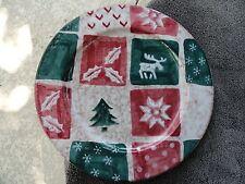 Zrike Christmas Holly Tree Snowflake Reindeer Red Green Beige Round Platter